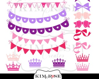 Bunting, Bows and Crowns Clipart! All in pinks and purples! Scrapbooking, Design, Decor, Digital