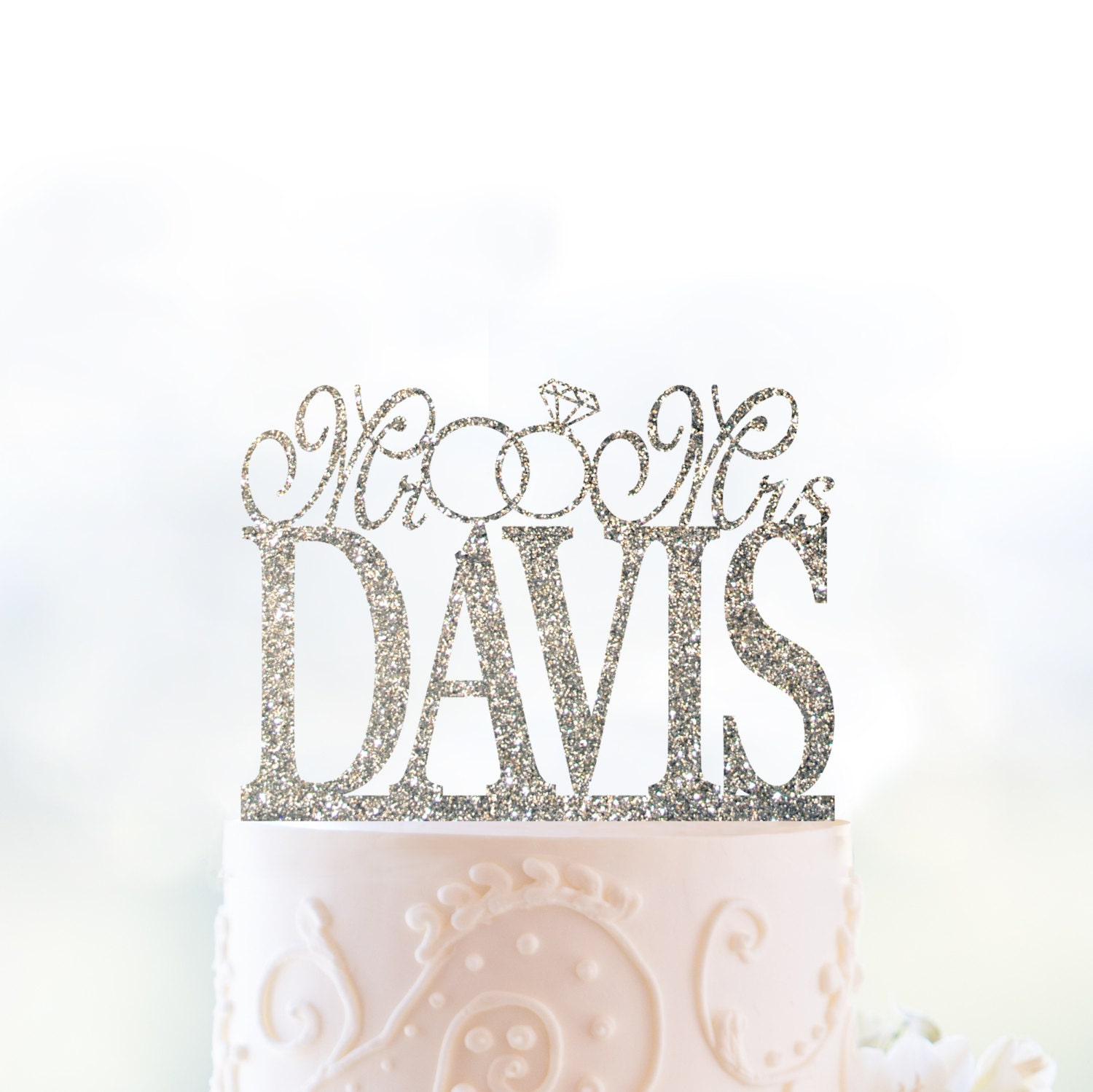 Glitter Mr and Mrs Cake Topper with Linked Rings Personalized