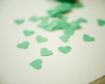 300 Mint Green Confetti. A set of mint green heart confetti for wedding, scrapbooking, parties and decoration. Die cut hearts