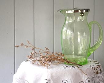 Green Uranium Glass Jug with Counterweight Lid Glass Pitcher Home Wedding Decor