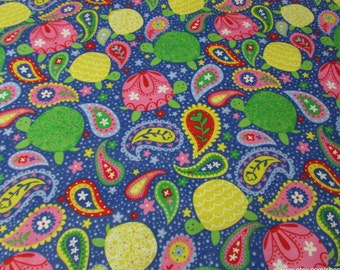 Flannel Fabric - Paisley Turtles - 1 yard - 100% Cotton Flannel