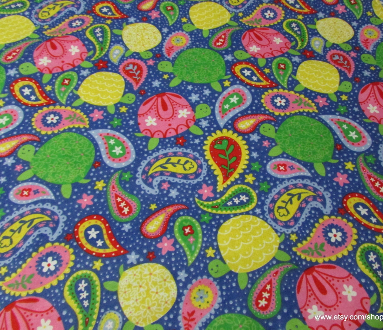 Flannel Fabric Paisley Turtles 1 Yard 100 Cotton