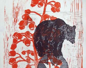 Woodcut // Woodblock print //  46 x 32 cm // bear on ball