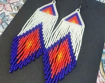 Flaming Days..Beaded Fringe Earrings Native American Inspired