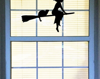 large halloween decal witch decal cat decal black cat and witch on a - Halloween Window Decals