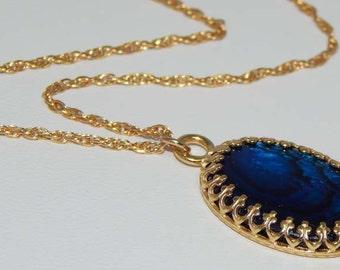 Blue Paua Shell Necklace. Paua Shell Necklace. Abalone. Paua Shell in Gold Setting.