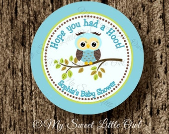 Blue Owl Cupcake Topper - Owl sticker - owl birthday party - owl baby shower - owl label - owl party favor sticker