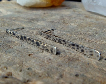 Hammered sterling silver stud earrings