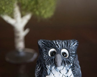 Miniature Clay Owl Figurine