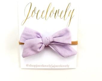 Lavender Mini Hand Tied Schoolgirl Bow Headband,  Baby Bow Clip, Toddler Bow Headband, Baby Gift Set,