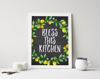 Bless This Kitchen Printable Watercolor Lemon Wreath Kitchen Wall Sign Kitchen Decor