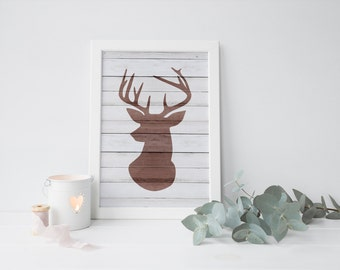 wood deer print · deer wall art · rustic printable · distressed wood wall decor · woodland print · antler art · home decor · deer decor art