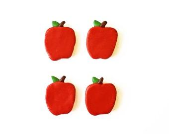 Apple Magnets - Food Magnet - Kitchen Magnets - Refrigerator Magnet - Teacher Gift - Small Magnets - Polymer Clay Magnet - Fruit Magnet