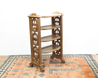 French Carved Cane Bottom Three Tiered Marble Top Shelf