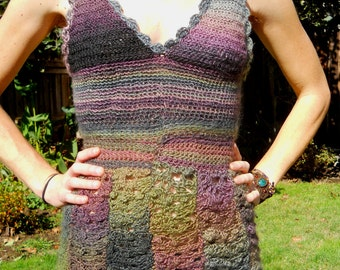 Handmade Crocheted Cute Colorful Summer Tank Top lacy cozy comfy festival hippie