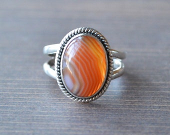 Banded Orange Carnelian Ring