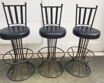 Mid Century Barstools in the Style of Warren Platner - Sculptural Base Barstool- Metal Barstool