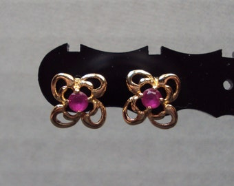 Gold Plated Ruby Pink CZ Flower Stud Earrings