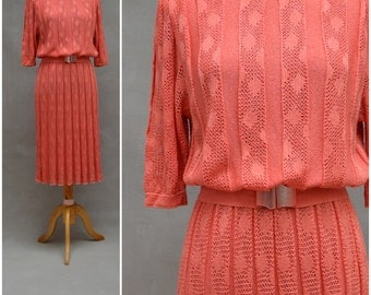 Vintage dress, 1980s Secretary style, Power dressing Sweater dress, Salmon Pink lace knit, Matching Belt with hook buckle, Medici
