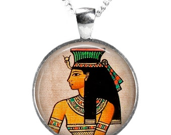 Ancient EGYPTIAN PRINCESS - Glass Art Pendant on Chain - Silver Plated (Picture Print Photo BC 2)