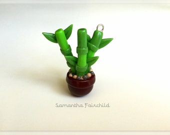 Polymer Clay Green Bamboo Charm Necklace - OOAK - Mini Plants Collection