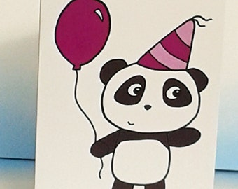Panda Birthday Card -Cute Panda Card- Party Card - Congratulations -Invites