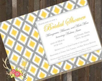 Monogram and Mimosas Bridal Shower Invitation Grey Yellow