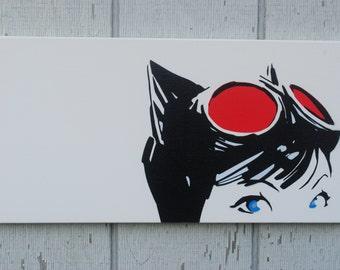 Minimalist Retro Catwoman / 10x20 inches