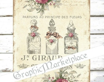 Perfume Bottles Shabby Chic French Parfum Eau de Cologne Download Bath Transfer Pillow digital sheet graphic printable graphic No. 162