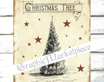 Christmas Tree Country Digital Noel Vintage Winter Iron on Fabric Transfer Burlap digital collage sheet graphic printable image No. 1029