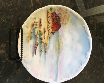 Bareuther Waldsassen Bavaria Germany Riverside Living Hand Painted Plate ~ 7 3/4""