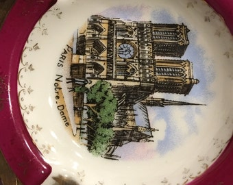 Limoges France Veritable Porcelaine D'Art JF NOTRE DAME Paris Souvenir Ashtray Limoges France
