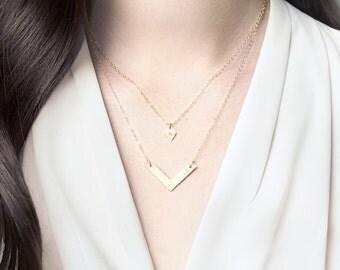 Personalised diamond and chevron necklace set - gold layering necklaces - personalised bar necklace - gold chevron necklace