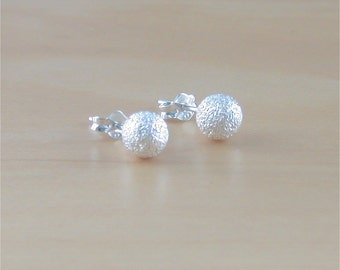 925 Silver Ball Stud Earrings/Frosted Stud Earrings/6mm Stud Earrings/Frosted Snowball Earrings/Silver Ball Jewelry/Silver Ball Jewellery