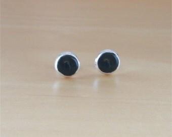 925 Black Enamel Button Earrings/Silver Black Button Earrings/Black Studs/Black Stud Earrings/Black Enamel Jewellery/Black Jewelry/8mm Studs
