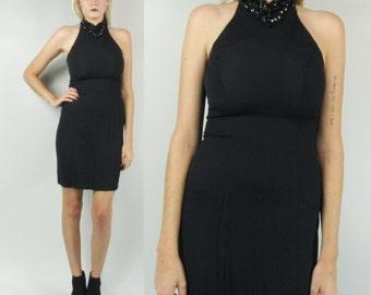 SALE---90s Beaded High Neck Mini Dress