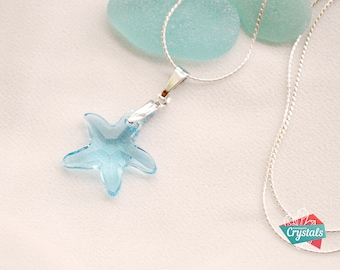 Swarovski Starfish Pendant, Crystal Starfish Pendant, Swarovski Blue Starfish Pendant, Swarovski Blue Crystal Necklace, Starfish Necklace