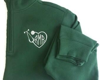 Monogram Quarter Zip - Nurse Monogram Sweatshirt - Stethoscope Monogram - RN Gift- Monogrammed Clothing- Nurse Gift - Monogram Pullover