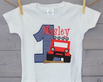 Personalized Birthday Jeep Applique Shirt or Onesie Girl or Boy