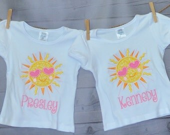 Personalized Sunshine with Sun Glasses Applique Shirt or Onesie Girl or Boy