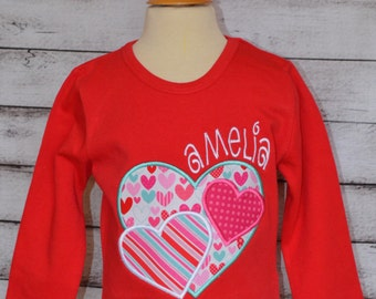 Personalized Valentine's Day Triple Hearts Applique Shirt or Onesie Girl or Boy