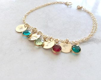 Personalized Initial Bracelet 4 birthstones & initial Monogram Bracelet Swarovski Birthstones  Monogram Jewelry Custom Letters Mothers gift