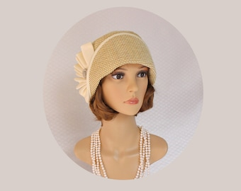 Stunning cloche hat made of cream textured fabric, 1920s flapper hat, Great Gatsby hat, Downton Abbey hat, tea party hat, Charleston hat