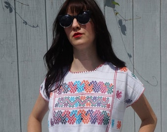 Hand Embroidered Tunic Style Colorful Mexican Manta Dress with Cotton Tassel Fringe