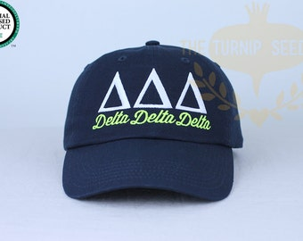 Delta Delta Delta Sorority Baseball Cap - Custom Color Hat and Embroidery.
