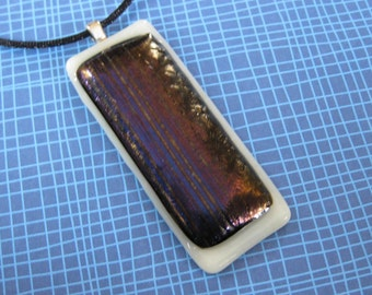 Large Pendant, Metallic Colored Fused Glass on an Ivory Base - The Rustic Door- 2708 -5