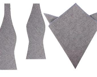 Matching Bow Ties + Pocket Square Black & White Twill Stripe Linen (L190-UB+P) Self Tie Bowties Men's Handkerchief Combo Untied Bow Tie