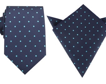 Matching Necktie + Pocket Square Navy Blue with Mint Blue Polka Dots (M127-T8+P) Men's Handkerchief + Neck Tie Combo Ties Thick Wide Tie