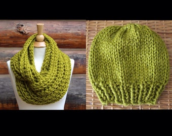 Green Wool-Blend Hat and Scarf Set