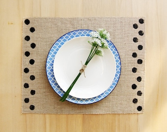 Burlap Placemats with Hand-Printed Polka Dot Detail in Black.  Set of 4 or 6 Country Chic Placemats.